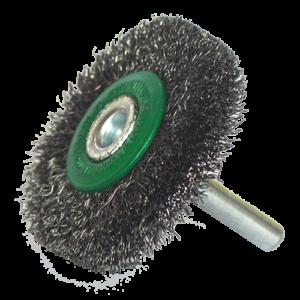 2195 - Cepillo circular de Alambre inoxidable ondulado con vastago