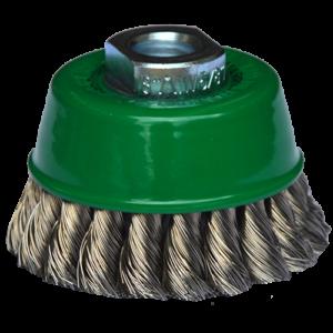 967 - Cepillo tipo copa de Alambre inoxidable trenzado