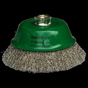 973 - Cepillo tipo copa de Alambre inoxidable ondulado