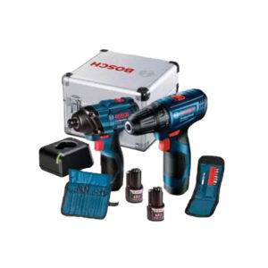 Bosch 06019G80G4 Combo Taladro/Atornillador + Llave de impacto Inalámbrico GSR 120-LI + GDR 120-LI + 23 Accesorios